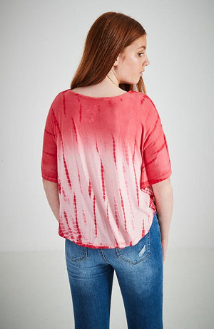 cassandra tie dye 'throw on' soft touch drapey tee