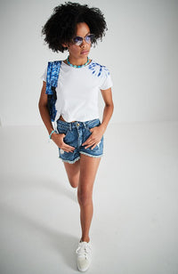 gracelyn white with blue tie dye side tie boho crop tee