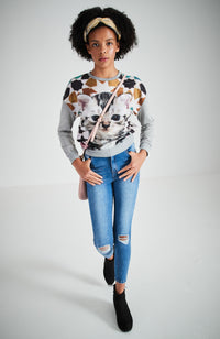 ollie grey marle comfy kitten print crew top