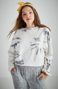 patsy grey tie dye crop oversized girls sweat top
