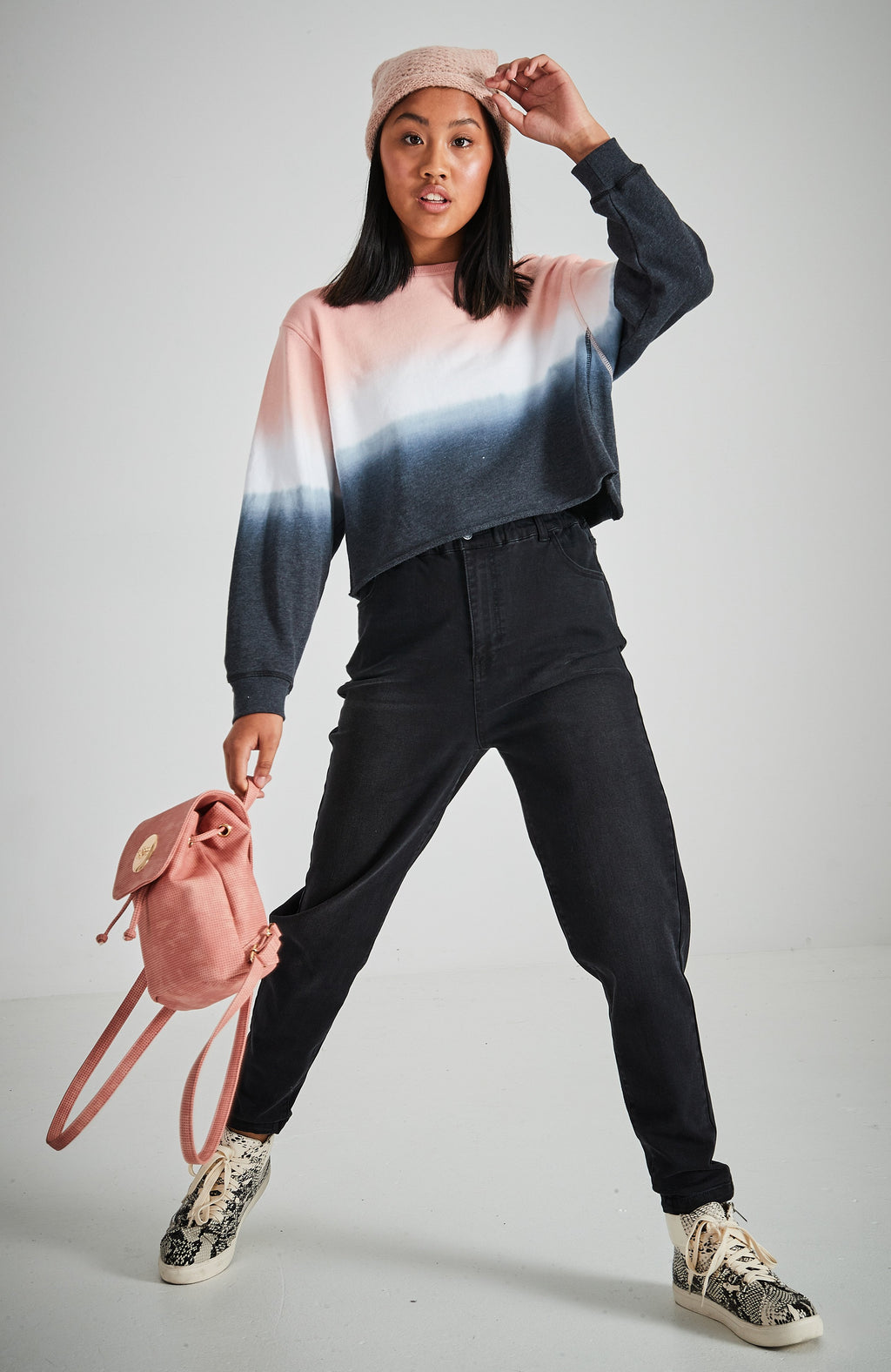 stevie black 90s inspired high rise relaxed fit paperbag jean