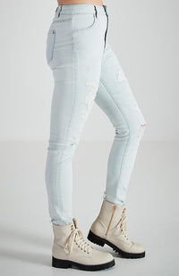 charlie light blue stretch denim multi rips skinny high rise jean