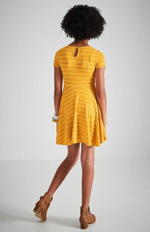 jamie ochre yellow skater skirt party knit dress