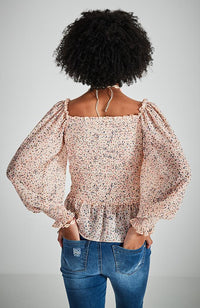 eliana pink floral shirred ruffle girls top