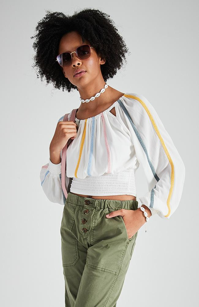 soho white and pastel trims shirred girls top