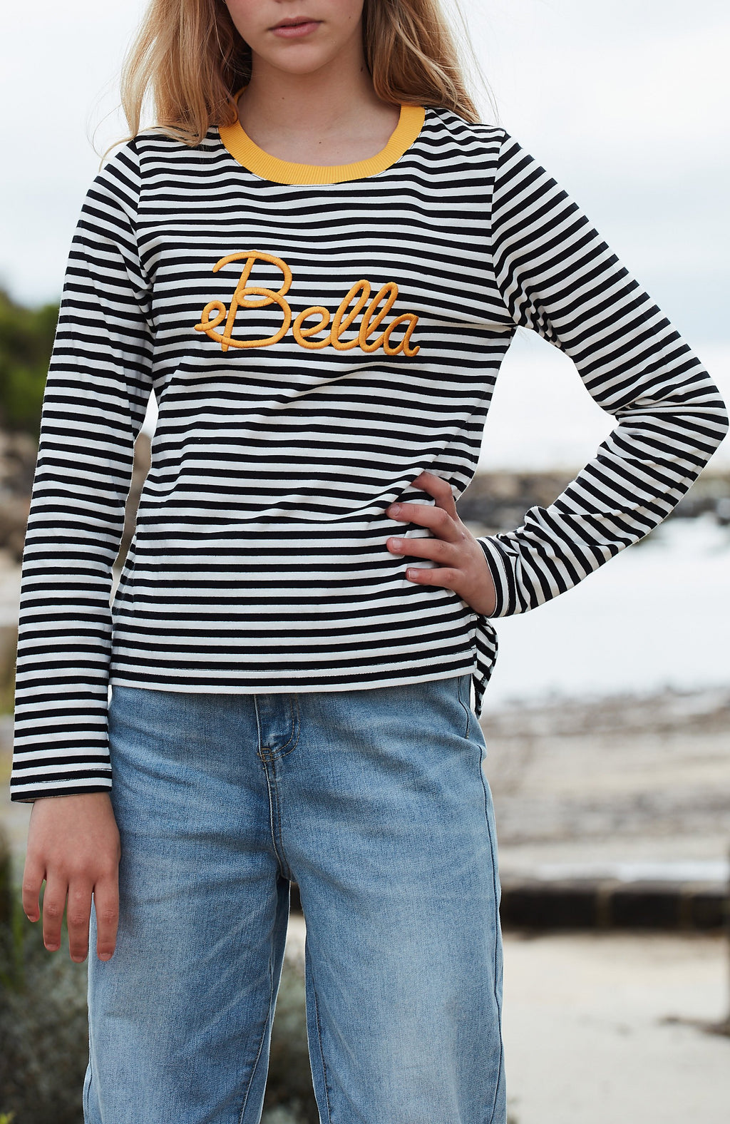 bella black and white striped slogan girls tee