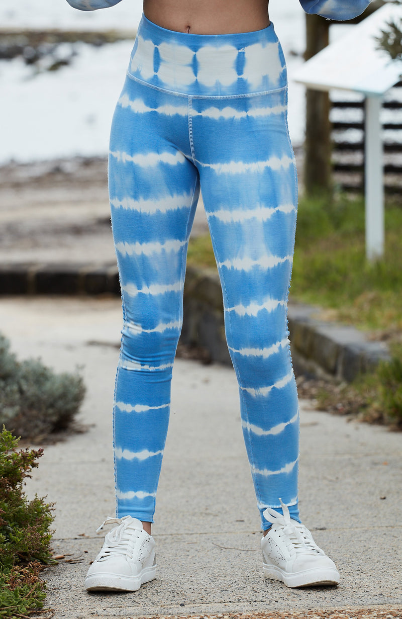 phoebe cornflower blue tie dye girls active legging