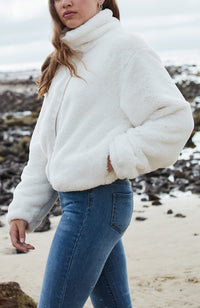 jessa cream fluffy faux fur girls jacket