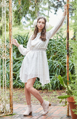 katerina cream star gazing oversized shirred girls party dress