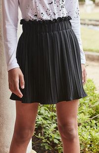 cleo black pleated woven girls paperbag skirt