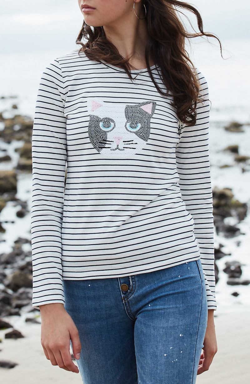 tuxedo cat black & white stripe sequin applique tee