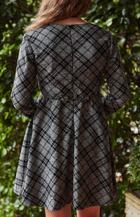 marianne black and grey check party dress