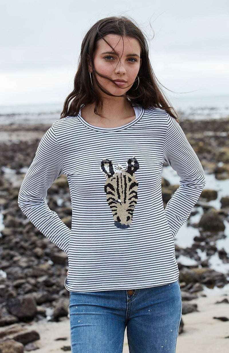 zebra z reversible sequin tee