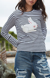 cali bunny black & white stripe sequin tee