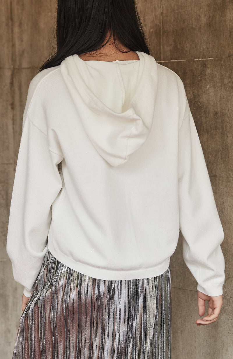 joanna cream silver foil oversized hooded girls knit top