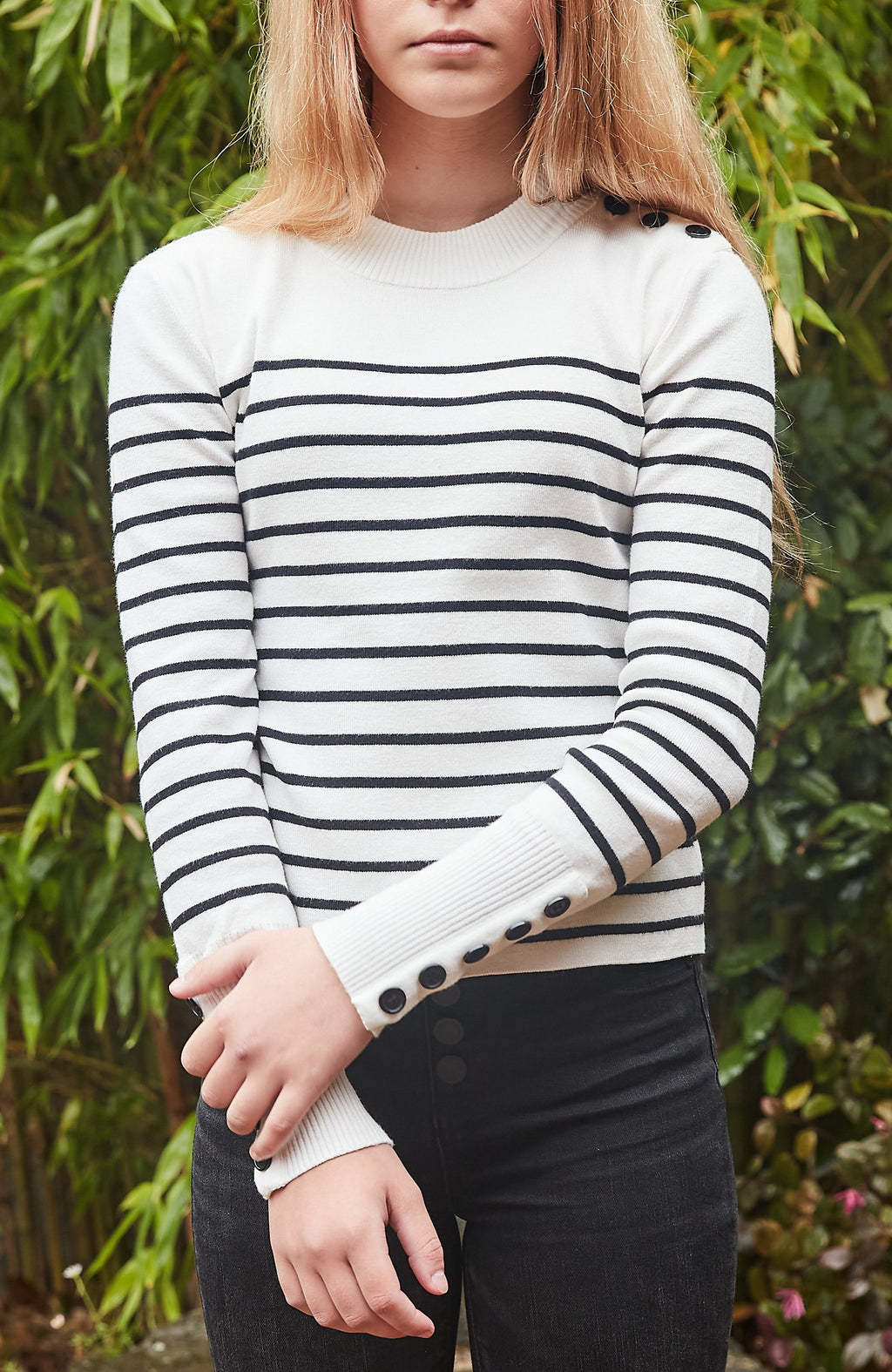 amelie black & white stripe button knit