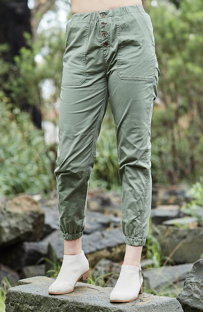 taylor khaki girls stretch cargo pant