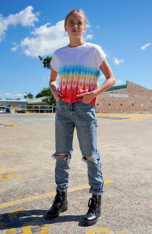 triana multi-spectrum tie dye girls tee