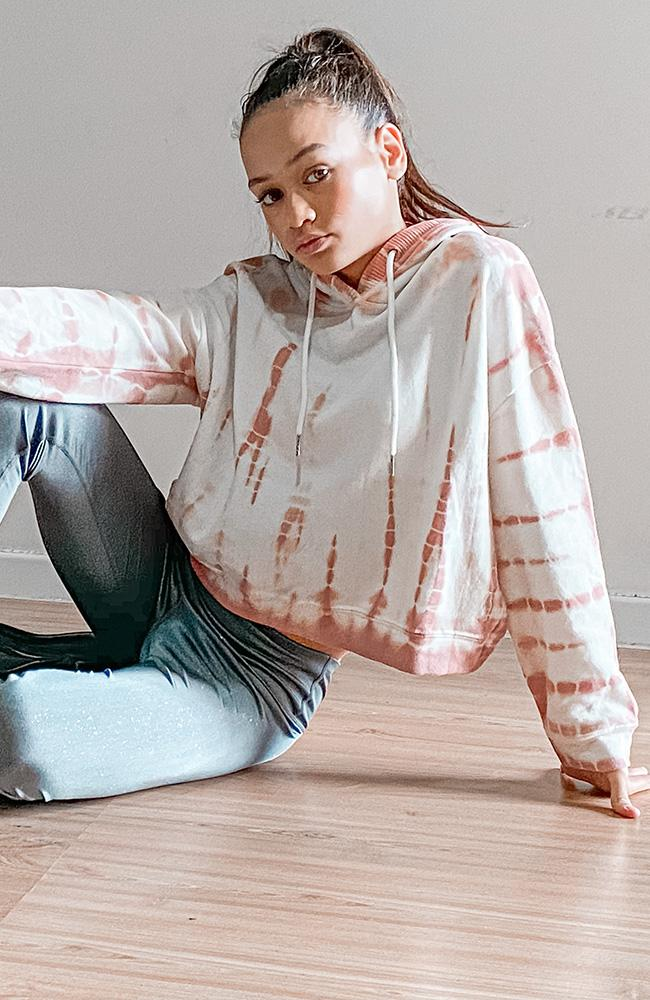 yasmin tilly pink tie dye active sweat cropped girls hoodie