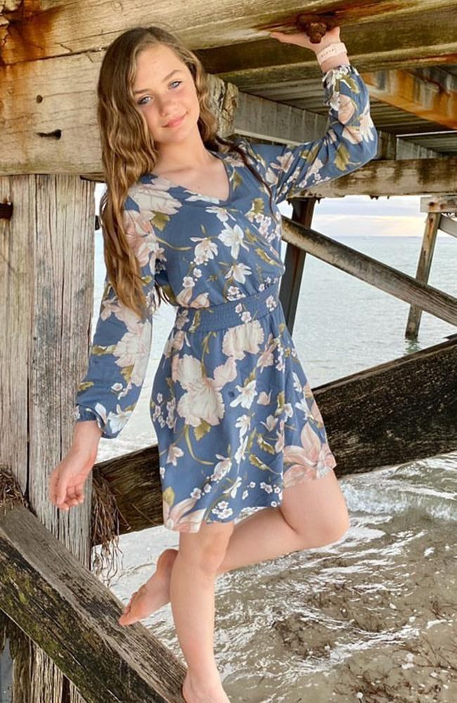 jolie floral long sleeve faux wrap shirred girls dress
