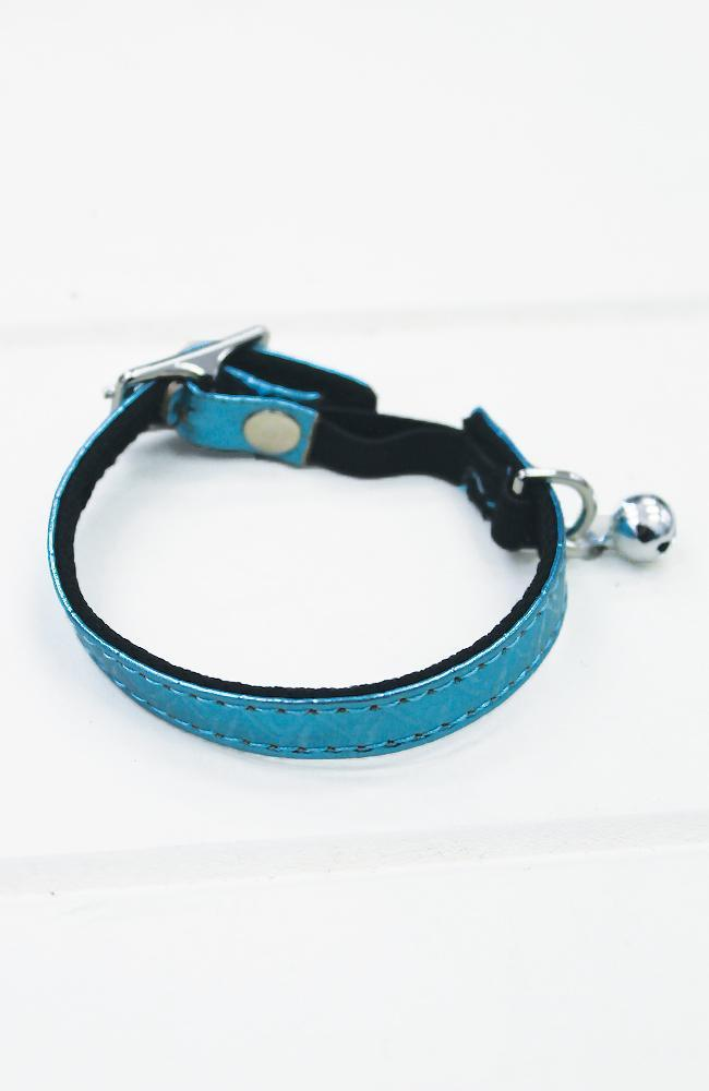 blue metallic crocodile vegan leather fashion kitten cat collar