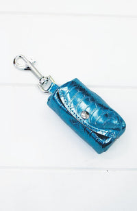 blue metallic crocodile vegan leather dog poop waste bag holder