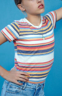 delilah retro stripe step high low girls tee