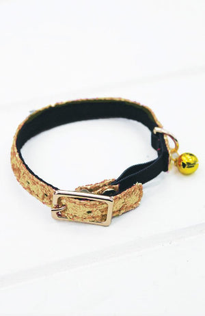 gold glitter vegan leather fashion kitten cat collar