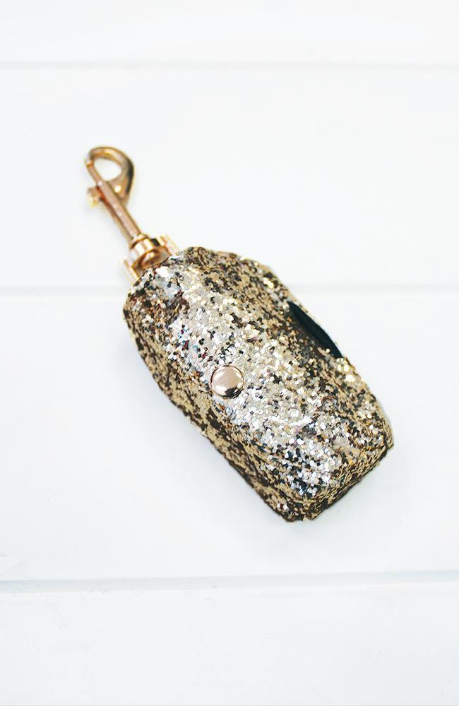 gold glitter vegan leather dog poop waste bag holder