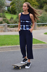 kelli navy and white tie dye stretchy boho playsuit