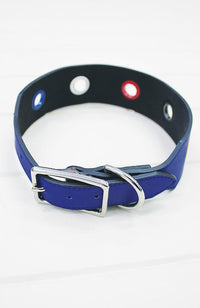 Nautical Navy Circle Eyelet Vegan Leather Fashion Dog Collar