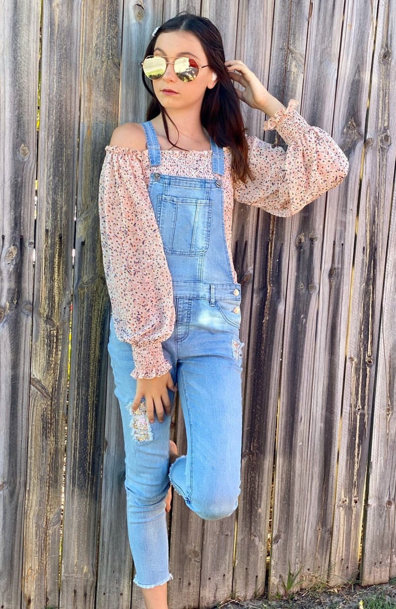katy misty blue skinny pull-on girls overalls