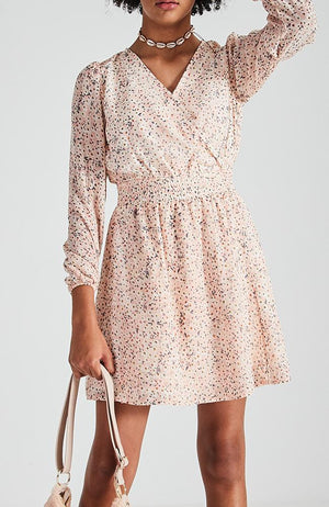 jolie pastel floral long sleeve shirred waist girls dress