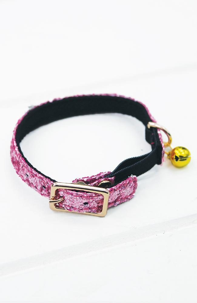 pink glitter vegan leather fashion kitten cat collar