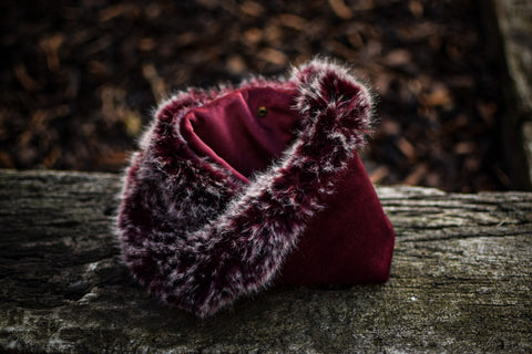 "Create Your Own Christmas Gift Set Collection - ""Merlot Frost"" - Luxury Burgundy & Grey Faux Fur x Plush Burgundy Velvet Snood"