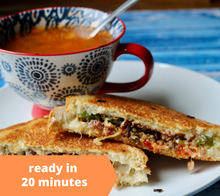 Load image into Gallery viewer, Havarti Bacon Pepper Grilled Cheese w/ Minestrone Soup — freezer meal