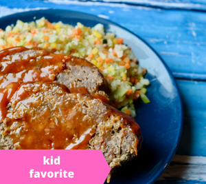 Bacon Cheeseburger Meatloaf w/ Fiesta Beans & Corn — freezer meal