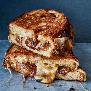 French Onion Grilled Cheese w/ Tomato Bisque — freezer meal