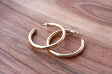 Load image into Gallery viewer, Large Everyday Brushed Gold Hoops