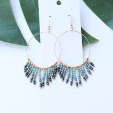 Load image into Gallery viewer, Teal & Gold Beaded Hoops