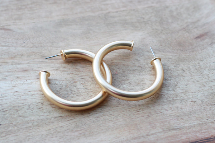 Brushed Gold Everyday Hoops