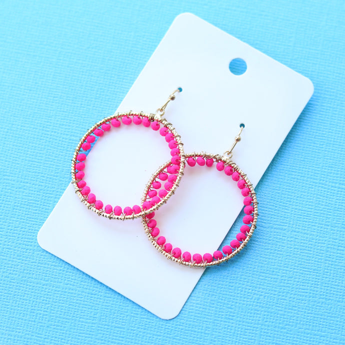 Fuchsia Beaded Hoops