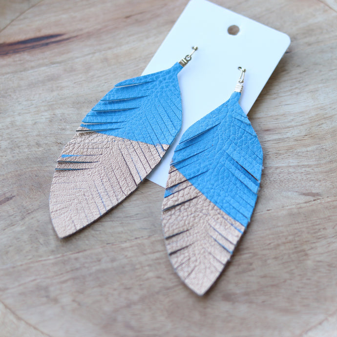 Metallic and Blue Feather Fringe