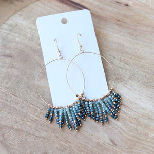Teal & Gold Beaded Hoops