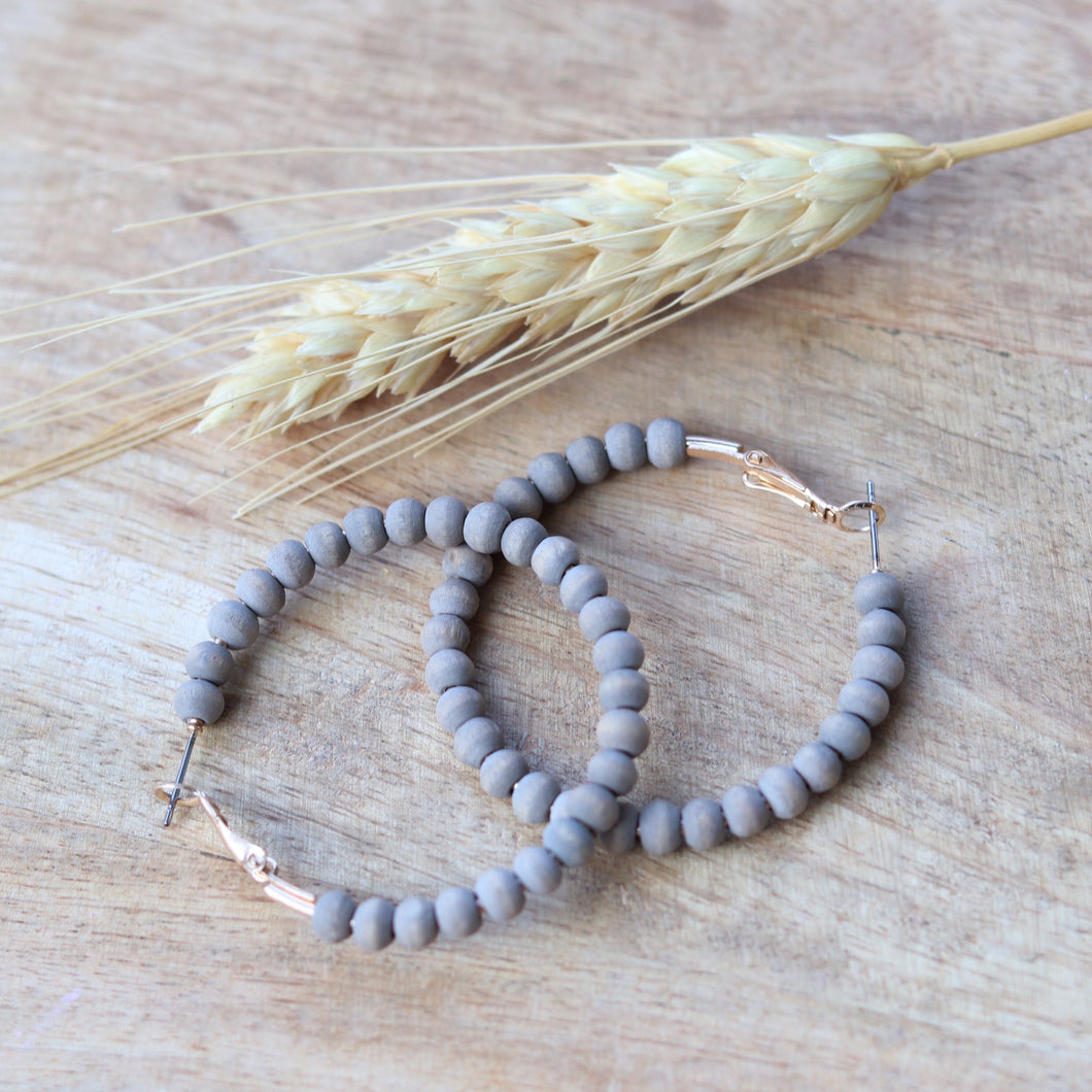 Gray Wood Beaded Hoops