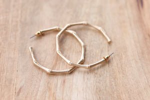 Brushed Gold Bamboo Hoops