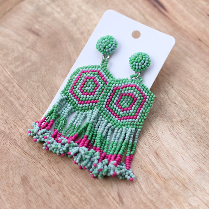 Green & Pink Beaded Fringes