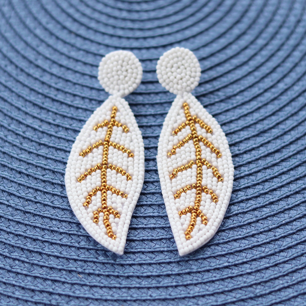 White Beaded Leaf