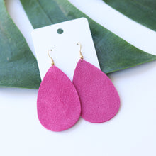 Load image into Gallery viewer, Pink Suede Teardrops