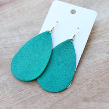 Load image into Gallery viewer, Green Suede Teardrops